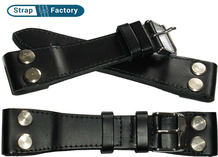 newsite Black open-end aviator military leather watch strap