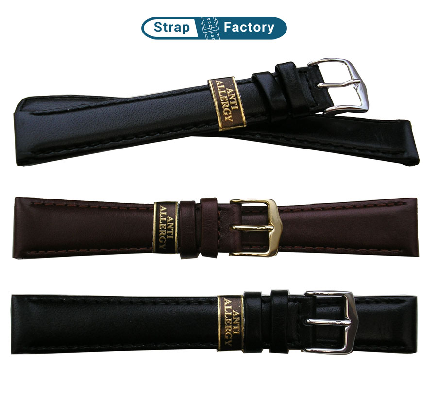newsite anti-allergy curved ends leather watch strap