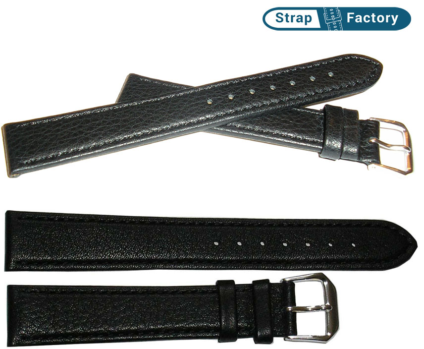 newsite black calfskin extra long leather watch strap