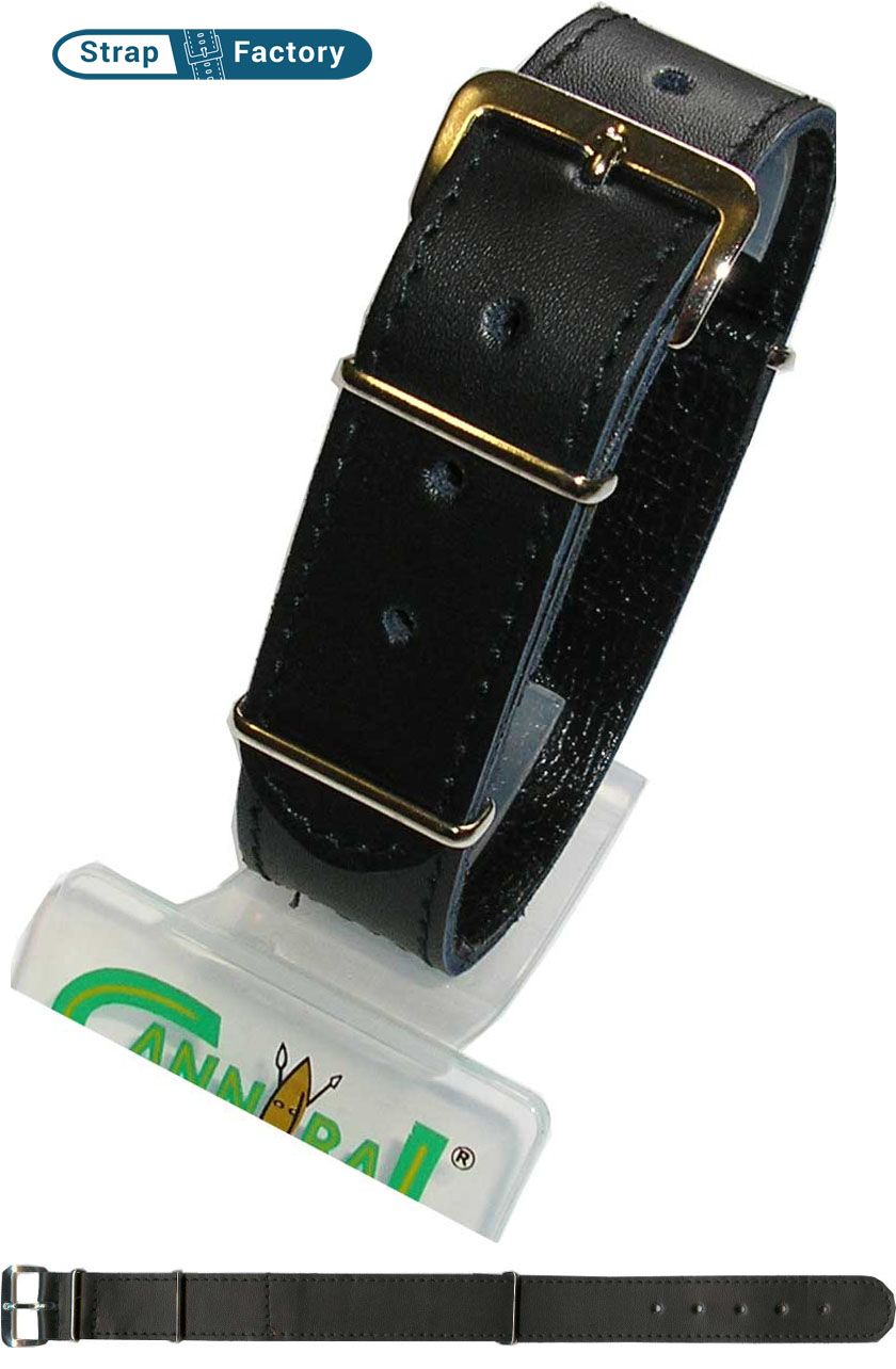 newsite black g10 leather watch strap