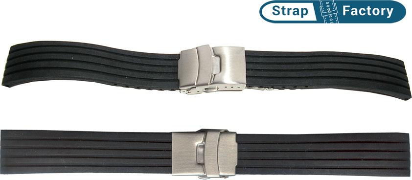 newsite black silicon striped watch strap