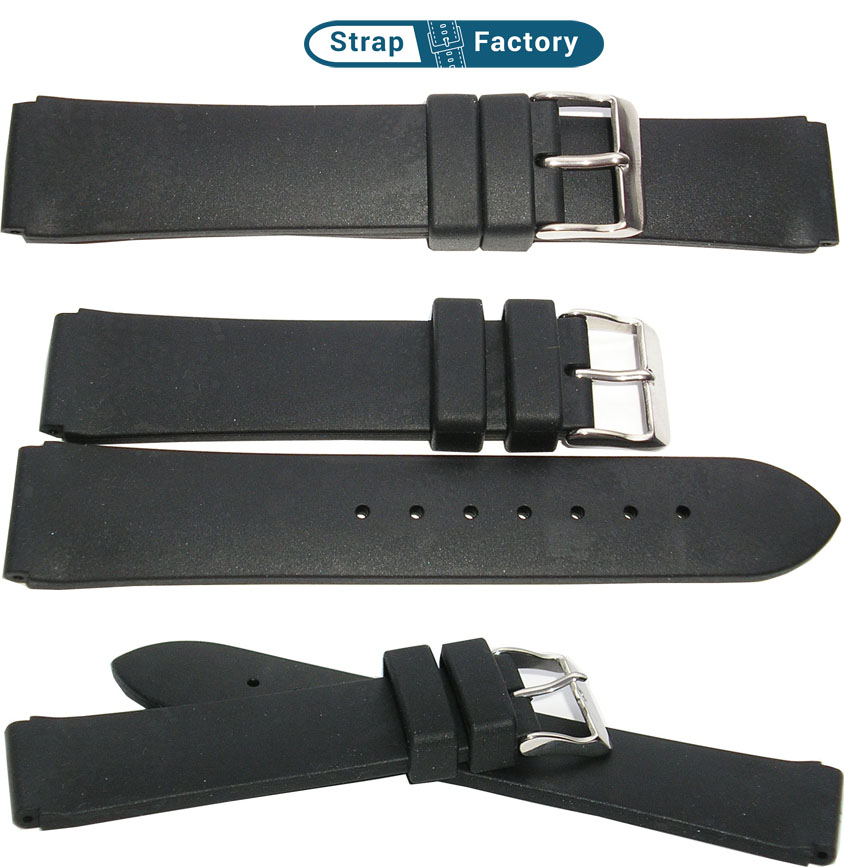 newsite black silicon two piece watch strap
