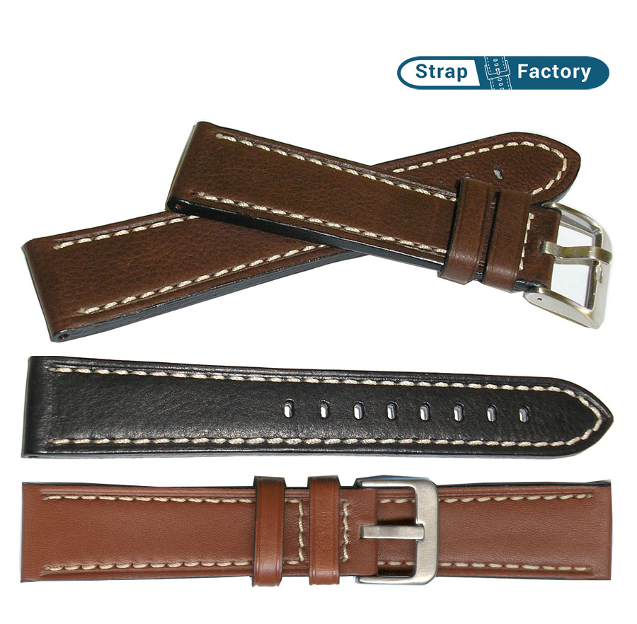 newsite calf grain padded leather watch strap