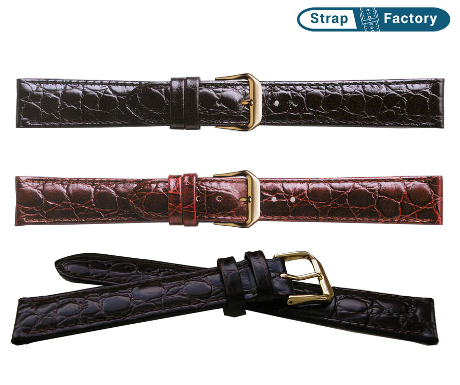 newsite crocodile grain extra long leather watch strap