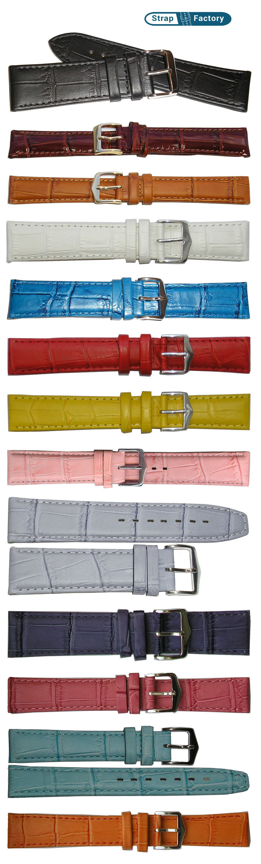 newsite crocodile grain leather watch strap