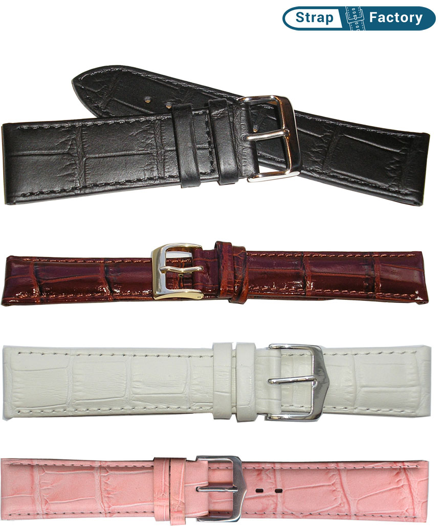 newsite extra long square crocodile grain leather watch strap
