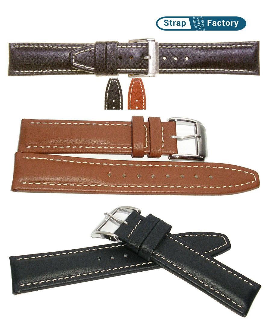 newsite heavy padded calf leather watch strap