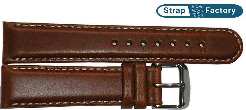 newsite medium brown padded leather watch strap