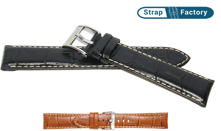 newsite padded alligator grain extra long leather watch strap
