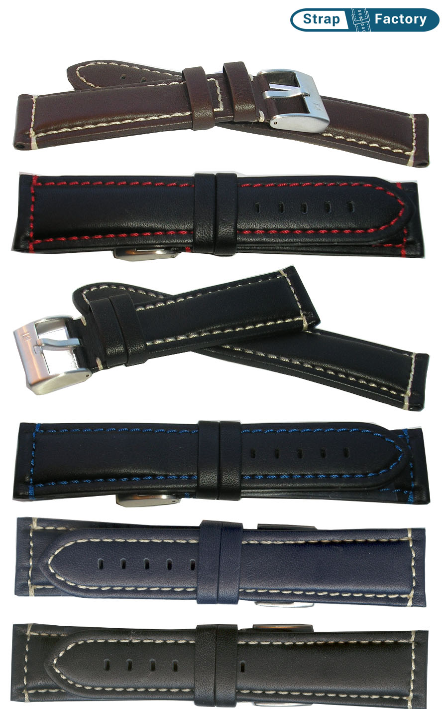 newsite padded waterproof leather watch strap